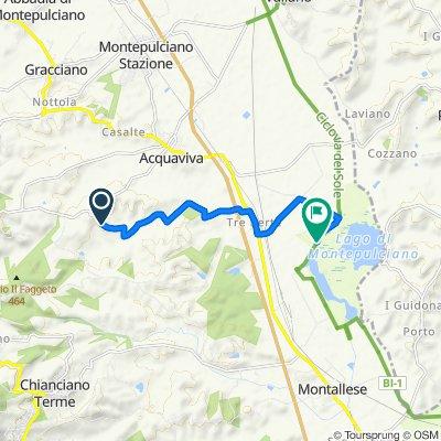 Via di Poggio Golo 12, Cervognano Montenero nach Via del Lago 13, Montepulciano