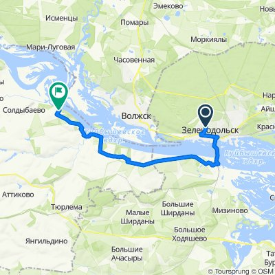 От улица Татарстан 20, Зеленодольск до Unnamed Road, Новородионовка
