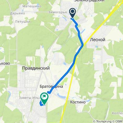 От Зеленоградская, Зеленоградский до Счастливая улица 35, Пушкино