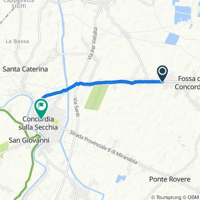 Da Via Martiri della Libertà 193, Fossa a Piazza Roma 34, Concordia sulla Secchia