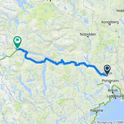 Sykkelrute 2 Kanalruta  Skien - Ulefoss - Dalen