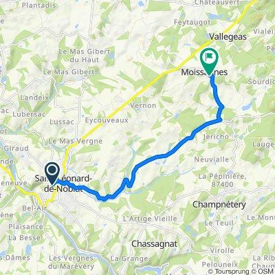 De Chemin du Pavé, Saint-Léonard-de-Noblat à 4 Rue de la Gane, Moissannes