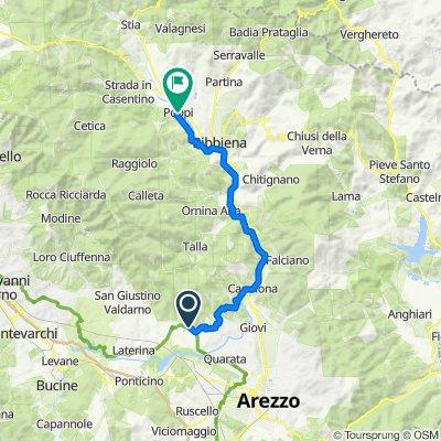 Località Meliciano 26, Arezzo naar Via Rilli Orsini 26, Poppi