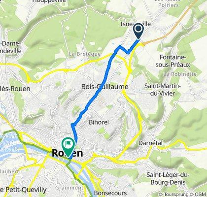 Route de Neufchâtel, Isneauville to 7 Place de la Haute Vieille Tour, Rouen