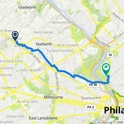 104 Bleddyn Rd, Ardmore to Reservoir Dr, Philadelphia