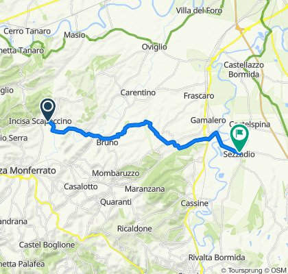 Da Via Giovanni Battista Scapaccino 7, Incisa Scapaccino a Via Lanzavecchia 3, Sezzadio