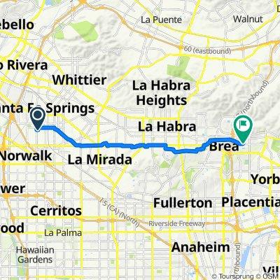 11204 Norwalk Blvd, Santa Fe Springs to 2333 E Raintree Dr, Brea