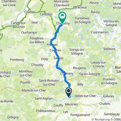 De 32 Rue du Cher, Châtillon-sur-Cher à 22 Rue du Chêne des Dames, Cheverny