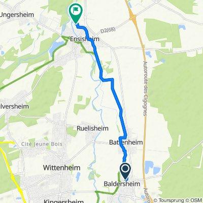De Rue des Vergers 10, Baldersheim à Chemin de l'Eiblen, Ensisheim