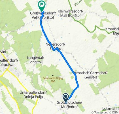 Route nach Obere Hauptstraße 57, Großwarasdorf
