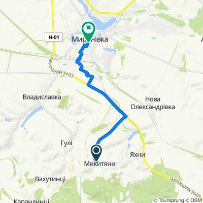 Route to Соборності вулиця, Mironovka