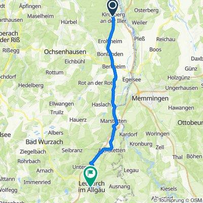 Hauptstraße 30, Kirchberg an der Iller nach Untere Grabenstraße 13, Leutkirch im Allgäu