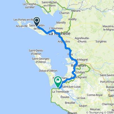 Day 7 Hotel de Toiras, Ile de rhe, to Hotel La Plage, Ronce les Bains 87 km