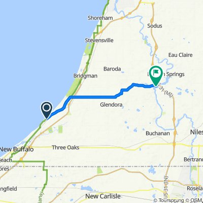 Route from 14497 Lakeshore Rd, Three Oaks