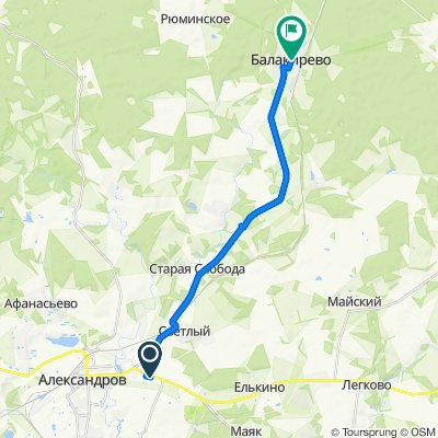 От 1-й Восточный переулок 8, Александров до улица 60 Лет Октября 17, Балакирево