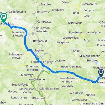 De Rue de Pentemont, Beauvais à 5 Rue Rebours Mutel, Forges-les-Eaux