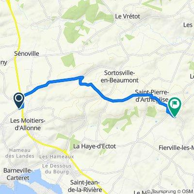 De Rue du Haut Hameau, Les Moitiers-d'Allonne à Rue de la Hennequinerie 1, Fierville-les-Mines