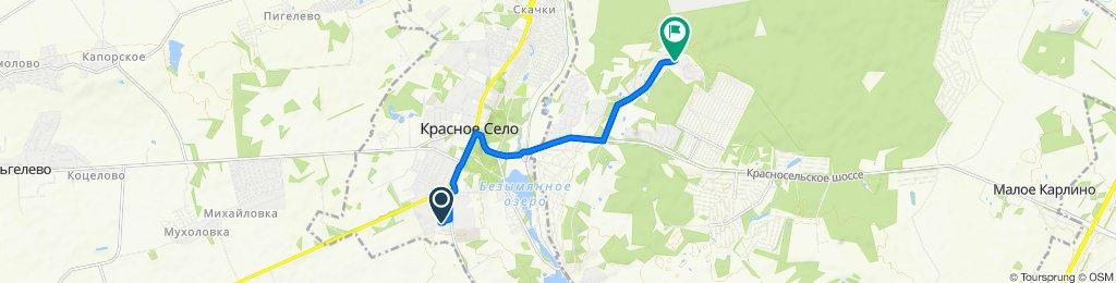 маршрут с Гатчинское шоссе, 13к3, Красное Село