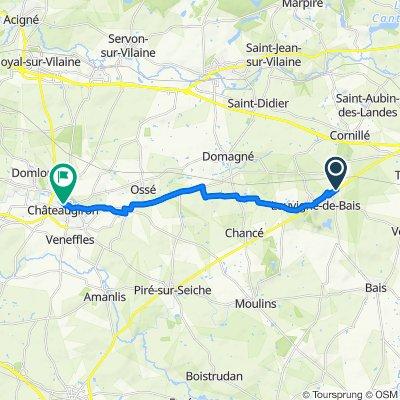 De Route de Vitré, Louvigné-de-Bais à 2–10 Rue Général de Gaulle, Châteaugiron