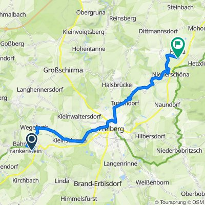Route nach Erlichter Straße 4–8, Halsbrücke