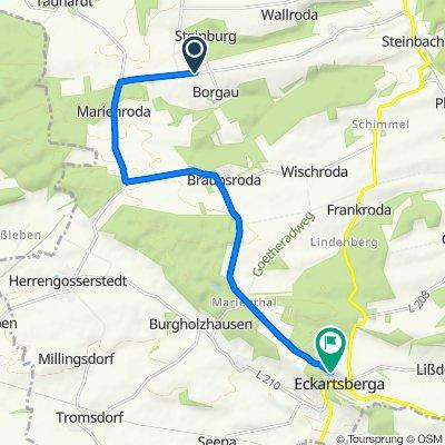 Route nach Marienthaler Straße 167C, Eckartsberga
