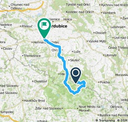 Čachnov-Pustá Rybná - Medlov - Kameničky - Pardubice