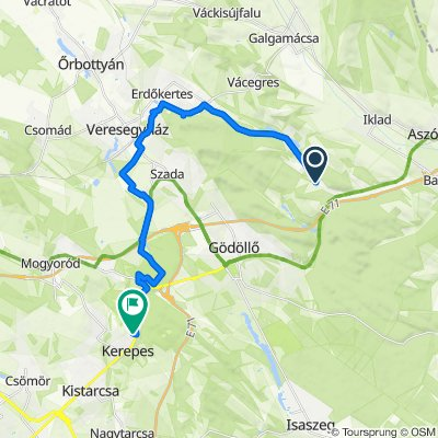 Route to Madarász János utca 11., Kerepes