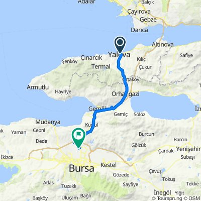 İDO Yalova Hızlı Feribot İskelesi to Bursa Uluslararası ve Şehirlerarası Otobüs Terminali