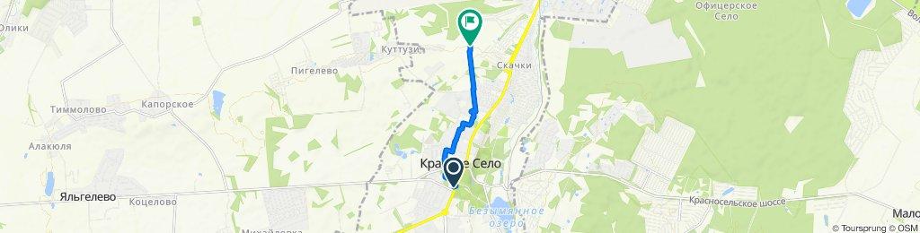 От проспект Ленина, 85, Красное Село до Стрельнинское шоссе, Красное Село
