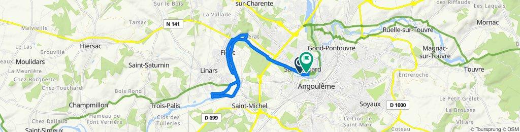 De Chemin de Halage 9, Angoulême à Rue des Papetiers 223, Angoulême