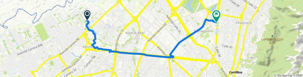 Calle 7 87B-70, Bogotá to Calle 57A 30-16, Bogotá
