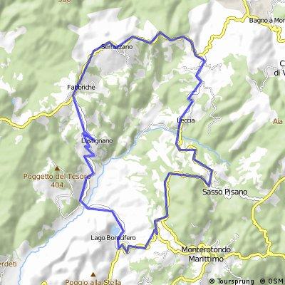 Kleine Tour über die Colline Metallifere (Lustignano - Sarrazzano - Leccia - Sasso Pisano)