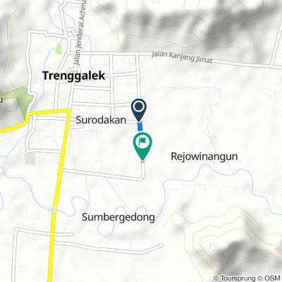 Jalan Ronggo Warsito 53, Kecamatan Trenggalek to Jalan Brigjend Sutran 9, Kecamatan Trenggalek