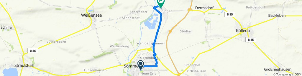 Kölledaer Straße 16, Sömmerda nach Rosa-Luxemburg-Straße 51, Sömmerda