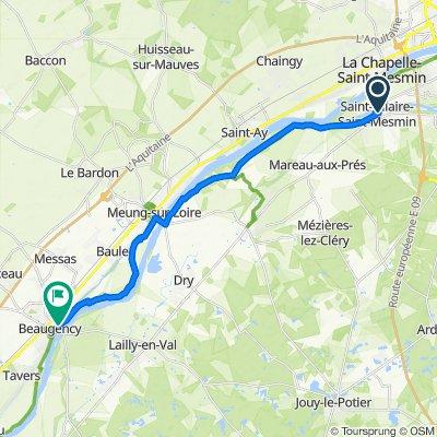 De Route d'Orléans 494, Saint-Hilaire-Saint-Mesmin à Quai Dunois 4, Beaugency