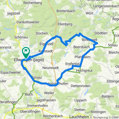 Von Ellwangen auf dem Limes Radweg nach Pfahlheim und am Haselbachsee zurück