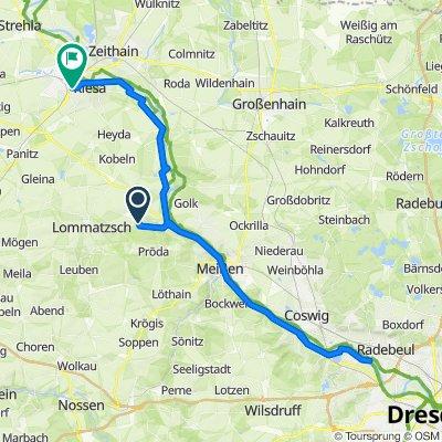 Elberadweg: Lommatzsch, Dresden (Gohlis), Riesa