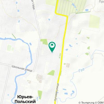 От улица Шибанкова 114а, Юрьев-Польский до улица Шибанкова 114, Юрьев-Польский