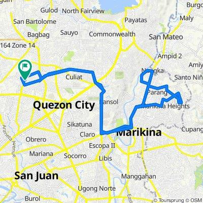 1 Simoy Street, Quezon City to Agueda Street, Quezon City