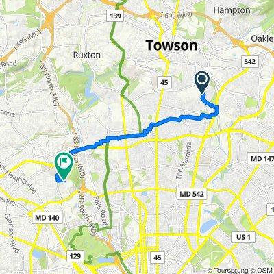 1204 Brixton Rd, Baltimore to 2301–2399 Strawflower Ln, Baltimore