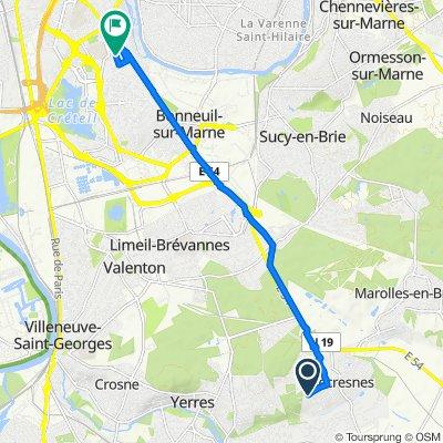 De 33 Rue des Plantes, Villecresnes à 7T Rue du Général de Lacharrière, Créteil