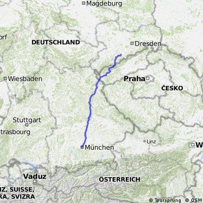 München bis ca 50km vor Dresden