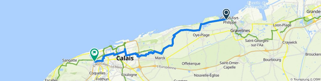Relaxed route in Calais