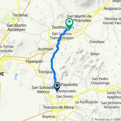 De Calle Zaragoza 5, Chiautla a Carretera Teotihuacán de Arista-Tulancingo de Bravo, Teotihuacán