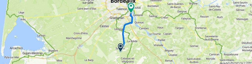 De Chemin de Biartigues 53, Saucats à Rue des Frères Lumière, Bègles