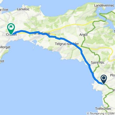 De Route de Lestrevet, Plomodiern à 1–7 Place du Général de Gaulle, Crozon
