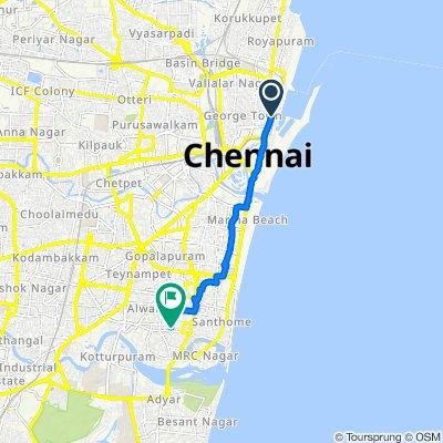 Rajaji Road 222, Chennai to Canal Bank Road 34, Chennai