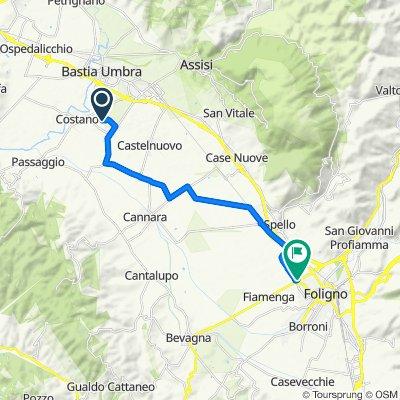 Percorso per Via Fiamenga 74, Foligno