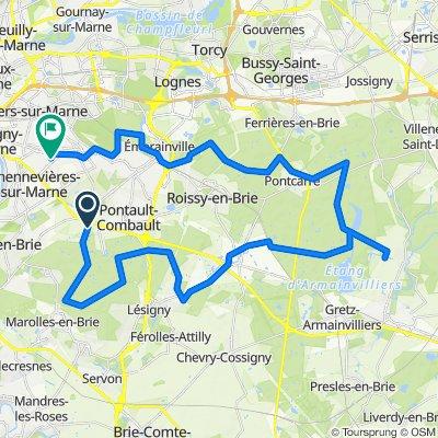 De 12 Route de Brie, La Queue-en-Brie à Square Jean Goujon, Champigny-sur-Marne