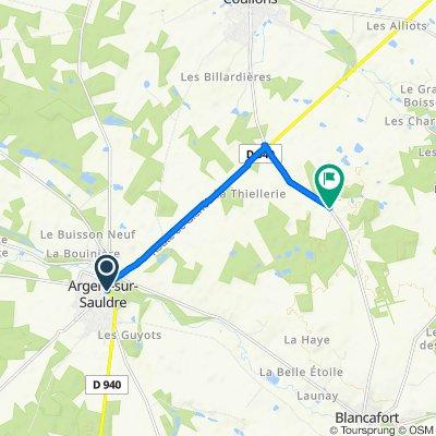 De Avenue de Paris, Argent-sur-Sauldre à Les Guillains, Coullons